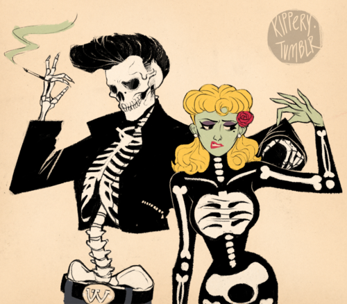 rockabilly skeleton couple